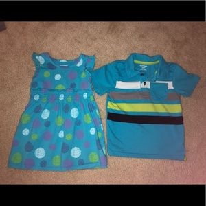 Boy/Girl Twin size 3 3T Coordinating Polo & dress